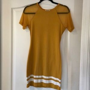 W Athletic Trim Mustard Mini Dress W/Sheer Sleeves